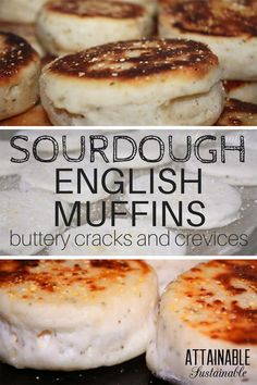 """Sourdough English muffins are surprisingly easy to make. This herb & parmesan sourdough English muffin recipe is a winner for breakfast or for a healthier """"egg muffin. Sourdough English Muffins, Homemade English Muffins, Sourdough Recipes, Sourdough Bread, Bread Recipes, Starter Recipes, Yeast Bread, Cooking Bread, Bread Baking"""