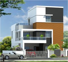 front elevation designs for duplex houses in india 3d House Plans, Indian House Plans, Duplex House Plans, Modern House Plans, House Front Wall Design, Bungalow House Design, Front Elevation Designs, House Elevation, Independent House