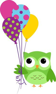 corujinha-verde-bexigas-baloes-aniversario-01 | Imagens PNG