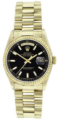 Rolex Mens 18K Gold President 18038 Black Baguette Diamond Dial Quickset Watch