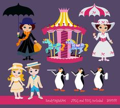 Mary Poppins Digital Clip Art Clipart Set  por SandyDigitalArt