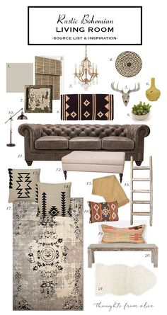 How to Create a Rustic Bohemian Living Room {Source List & Inspiration} (Thoughts from Alice) | Bohemian Living, Bohemian Living Rooms and Bohemian