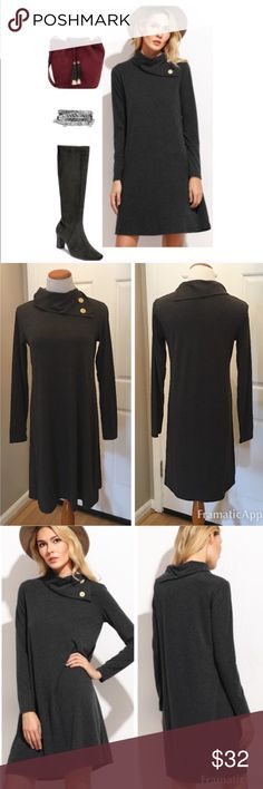 Fall Ready Dress This is a New In Pkg Boutique Solid Knit Dress. Color is Charcoal Gray. Features include long sleeves with a button detail turtleneck. Materials are a super soft blend of 95% cotton and 5% spandex. This is a generous size small, fits nicely on my medium sized mannequin (pictured above👆🏻) Boutique Dresses Long Sleeve