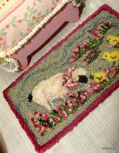 .sheep w/baby chicks - springtime - embellished with french knots