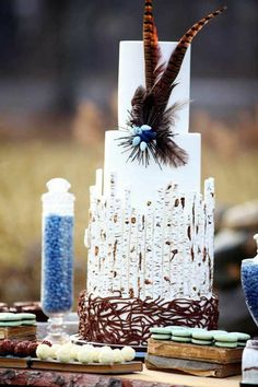 10. Feathered Rustic Wedding Cake... - 20 Rustic Wedding Cakes to Complement Your Theme… |Wedding