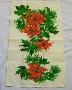 Vintage Tea Towel, Christmas Tea Towel, Red Poinsettia, Vintage Christmas, Vintage Kitchen, Linen Towels, Christmas Towel, Kitchen Towel - pinned by pin4etsy.com