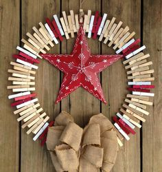 Red star clothespin wreath by ThreeDogWreaths on Etsy Easy Diy Crafts, Craft Stick Crafts, Fun Crafts, Clothespin Crafts, Wreath Crafts, Diy Wreath, Wreath Ideas, Holiday Wreaths, Holiday Crafts
