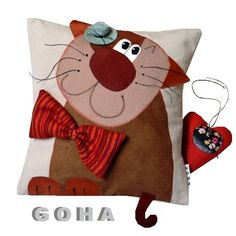 milczek (proj. GOHA), do kupienia w DecoBazaar.com Cat Crafts, Sewing Crafts, Diy And Crafts, Sewing Projects, Applique Pillows, Sewing Pillows, Felt Pillow, Quilted Pillow, Cushions To Make