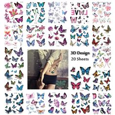 Butterfly Tattoos for Women, Scar Cover Up Makeup Temporary Tattoos Body Art Waterfroof Sticker Monarch Butterfly Flower Design for Leg, Thigh, Hip and 3d Tattoos, Ankle Tattoos, Sexy Tattoos, Body Art Tattoos, 3d Butterfly Tattoo, Butterfly Flowers, Monarch Butterfly, Tattoos For Kids, Tattoos For Women