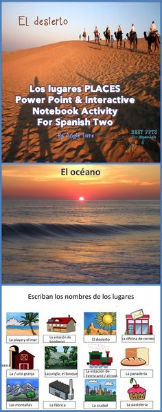Spanish Places los lugares Power Point and Interactive Notebook Activity includes the following: Animated 90-slide Places Power Point with interspersed questions for checking for understand and answers to the Interactive Notebook Activity; Spanish places student handout with list of 47 places, related expressions and verbs; Interactive Notebook Activity with visuals that corresponds to the Power Point