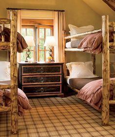 Bunk Room Bedroom by Cullman & Kravis and Resort Design Architects in Colorado Home Bedroom, Bedroom Decor, Kids Bedroom, Bedroom Ideas, Wood Bunk Beds, Bunk Rooms, Dorm Rooms, Architectural Digest, Beautiful Interiors