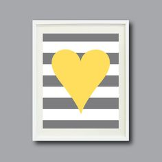 Striped Heart Art Print 8x10Nursery Kids by GatheredNestDesigns, $16.00