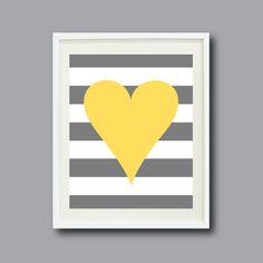 Striped Heart Art Print 8x10-Nursery, Kids Room, Playroom, Teen-Yellow, White, Grey/Gray OR Choose Color-Modern Wall Art