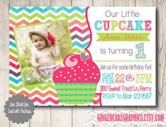 Cupcake Birthday Invitation  First Birthday  by gingercakegraphics, $14.50