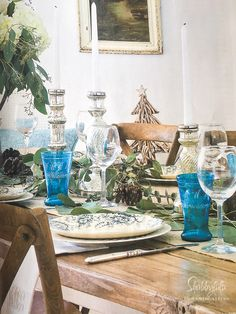 My dining room at the beach house all set for Christmas featured in Romantic Homes Magazine from Shabbyfufu.