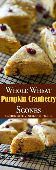 'Tis pumpkin season once again and these Whole Wheat Pumpkin Cranberry Scones are deliciously moist and perfect for breakfast or an afternoon snack. via @CarriesExpKtchn