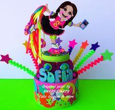 Roller skating Birthday cake topper HAPPY BIRTHDAY SOFIA!! #kharygoarts #birthdayparty #caketopper #rollerskate