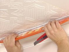 How to wallpaper ceiling.