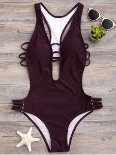 AD : High Cut One-Piece Swimwear - WINE RED M Swimwear Type: One Piece Gender: For Women Material: Nylon Bra Style: Padded Support Type: Wire Free Collar-line: Plunging Collar Pattern Type: Solid Waist: Natural Elasticity: Elastic Weight: 0.2200kg Package: 1 x Swimwear