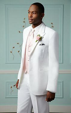 Perfect for setting the mood for a luxurious morning or midday #wedding, Pronto Uomo White Two-Button Satin Edge Peak Lapel #Tuxedo.