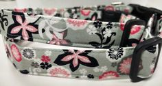 Gray and Pink Floral Dog Collar by HalasPaws on Etsy
