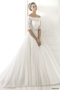pronovias 2015 best wedding dress elbow length off shoulder sleeves