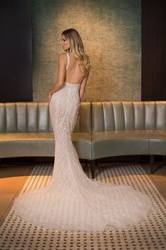 Embroidered Nude Slip Backless Mermaid Wedding Dress / Bridal Gown with Open Back and Long Train by Pallas Couture