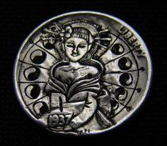 Ronald Proulx - Geisha Girl Hobo Nickel, Geisha, Buffalo, Coins, Carving, Art, Art Background, Rooms, Wood Carvings