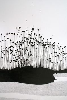 Sparse and slightly ominous ink art by Sarah Lindstrom.