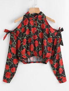 Cheap Rose Print Cold Shoulder Split Sleeve Crop Blouse for sale Australia Cute Comfy Outfits, Trendy Outfits, Cool Outfits, Fancy Tops, Trendy Tops, Teen Fashion Outfits, Fashion Kids, Off Shoulder Casual Dress, Vetement Fashion