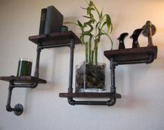The ORIGINAL Four Tier Walnut Pipe Shelf