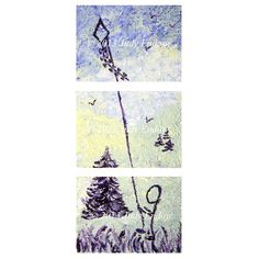 "Image description of Judy Endow's painting ""Kite Boy"". ""Kite Boy"" is  a triptych depicting a stick figure flying a kite. The bottom section contains an image of a stick figure standing on grass holding a kite string, there are black- purple plants in the foreground and the bottom 2/3rds of a black- purple tree. "" © 2013 Judy Endow"" in white is in the middle. The second section contains the top 1/3 of the purple tree, grass made of yellow and green tones and three small trees to the right, a…"