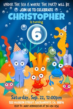 Under the sea is where the party will be! Party invitation for instant download at #etsy shop 'Ideas2Print' #partyprintables #party #characterdesign #kidsparty #funnyseacharacters #partyinvitations #partyinvitationdesign #etsyshop #childrensillustration #hugoherrera