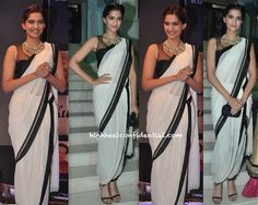 Wearing a look hot off the Tarun Tahiliani S/S 14 runway, Sonam attended a recent album launch. Wearing her hair up, she finished out the look with a Bottega Veneta clutch, strappy sandals and a jaw-dropping necklace. The draped dhoti-sari is perfect for the leggy actor; Sonam wears it well! She looked good. Left, Centre: …