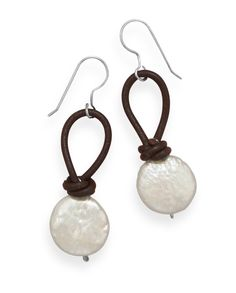 Sterling silver french wire earrings with brown leather and cultured freshwater coin pearl drops. The coin pearls are approximately 11.5mm. The earrings hang approximately 42mm. .925 Sterling Silver
