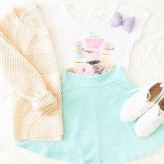 Green Pleated Scuba Skater Skirt