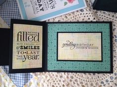 Inside of a Z-folded birthday card. Stamped sentiments by Papertrey Ink.