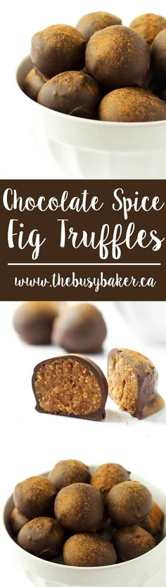 Deliciously indulgent but surprisingly healthy Chocolate Spice Fig Truffles Recipe by www.thebusybaker.ca