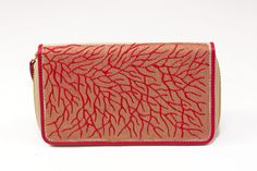 $80 Red Roots Hand Painted Canvas Clutch Wallet by Pittura Arte  Shop here: http://www.trendcy.com/red-roots-hand-painted-canvas-clutch-wallet/