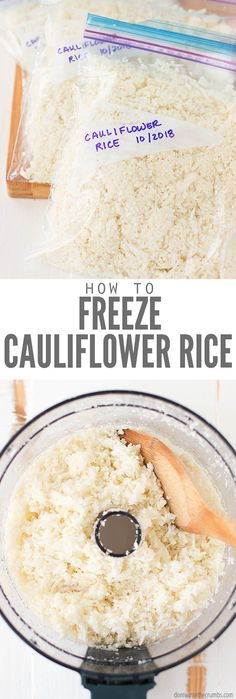 Love cauliflower rice but dont like spending the time to make it every time you want it with your meal Then meal prep and freeze it ahead of time This post will walk you. How To Cook Cauliflower, Cauliflower Recipes, Easy Rice Recipes, Rice Recipes For Dinner, Real Food Recipes, Recipes To Freeze, Diet Recipes, Healthy Recipes, Salads