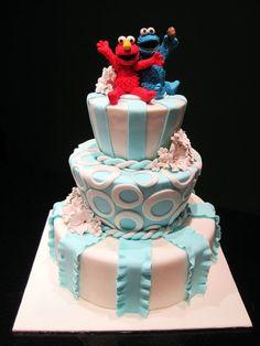 Elmo n Cookie Monster Wedding Cake