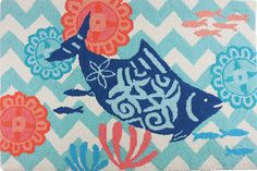 Love this Key West Chevron Small Accent Rug with fun royal blue and aqua fish swimming on aqua blue chevrons with sealife in the background on this x indoor/outdoor mat. Orange Area Rug, Navy Blue Area Rug, Beige Area Rugs, Fun Royal, Royal Blue, Chevron Kitchen, Orange And Turquoise, Aqua Blue, Novelty Rugs