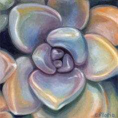Succulent 5 Walnut Oil Painting 12 x12 by SucculentEcoArt on Etsy