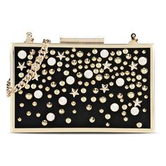 Karl Lagerfeld Multistuds Minaudiere found on Polyvore featuring bags, handbags, clutches, black, mini handbags, hand bags, miniature purse, star purse and studded handbags