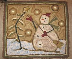 Mr. Chill Snowman hooked rug design by Cathy G  OrangeSink.blogspot.com