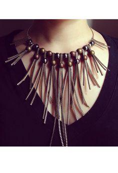 Urban Style Zipper Beaded Necklace