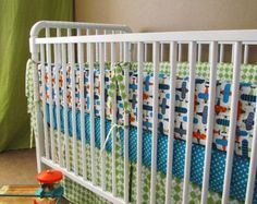 baby bedding   boy bedding  Custom made  in Organic Airplanes  with bumper set , fitted sheet and crib skirt