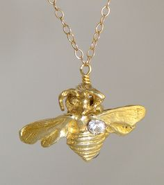 Bee Solitaire Necklace from Nectar Jewelry