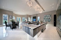 Design and manufacture for principal areas within a prestigious new build property. Open Plan Kitchen Dining Living, Living Room Kitchen, Kitchen Diner Extension, Cocinas Kitchen, Eclectic Kitchen, Piece A Vivre, Beautiful Kitchens, Dream Kitchens, Home Design Plans