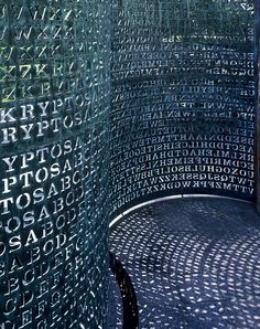 Kryptos (1990) - sculpture by Jim Sanborn, photo by Carol Highsmith. Located in the CIA grounds at Langley, it is made from curved sheets of copper stencilled with 4 coded messages, one of which still stumps the hard core cryptography geeks (apparently)